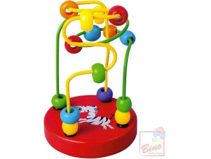 BINO DŘEVO Baby labyrint motorický s korálky červený provlékačka pro miminko