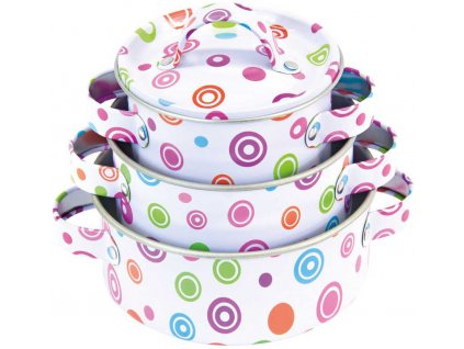 BINO Dětské smaltované nádobí set 11ks hrnce s pánvicí a nástroji kov