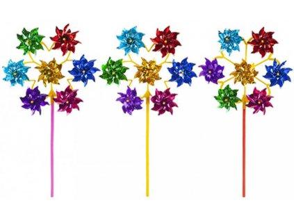 Větrník barevný plastový 7 růžic 7v1 na tyčce 50cm 3 barvy
