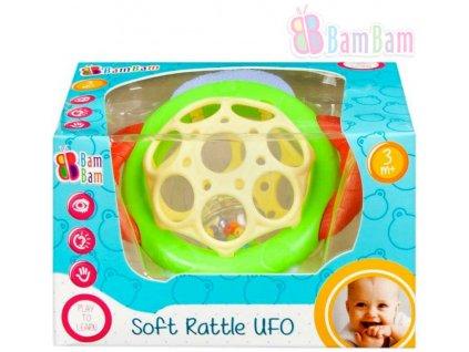 BAM BAM Baby chrastítko měkké UFO s kuličkami 2 barvy pro miminko