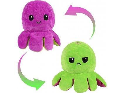 Oboustranný plyšák - chobotnice fialová/zelená