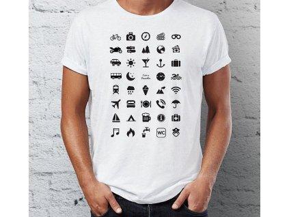 Cestovní tričko s ikonami - Barva: Bílá Velikost: - M