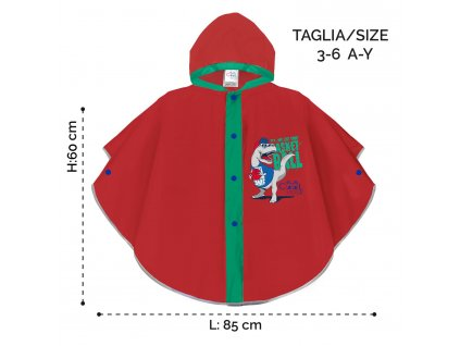 Chlapecká pláštěnka pončo Perletti T-Rex - červená