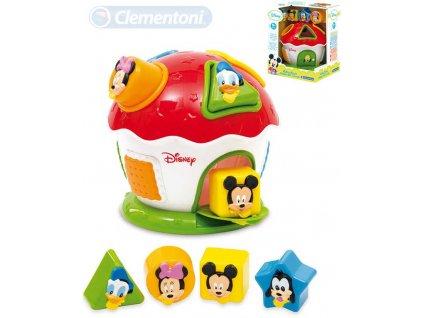 CLEMENTONI Baby domeček Mickey Mouse vkládačka se 4 tvary pro miminko