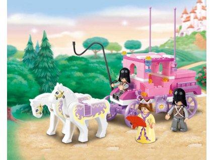 SLUBAN Stavebnice GIRLS Královský kočár set 137 dílků + figurka 3ks plast