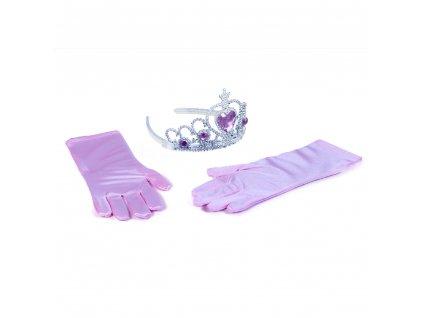 Sada princezna rukavice s korunkou - růžová