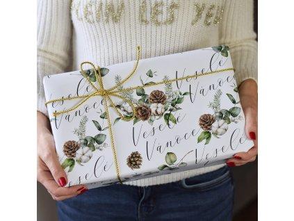 Vánoční balící papír - Veselé Vánoce - 70 x 100 cm - 3 archy