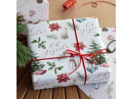 Vánoční balící papír - Od Ježíška -70 x 100 cm - 3 archy