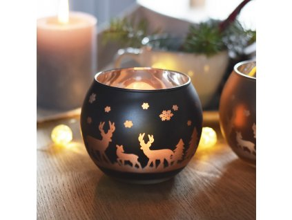 Svícen na čajovou svíčku - hnědý/šedý lesní dekor hnědý Design svícnu