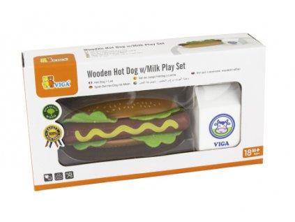 Dřevěná sada hotdog a mléko