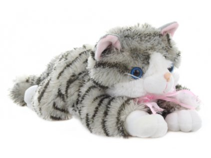 Plyš Kočka šedivá 30 cm