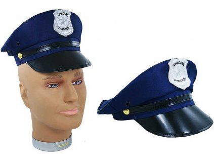 KARNEVAL Čepice policie modrá s odznakem pro dospělé KARNEVALOVÝ DOPLNĚK