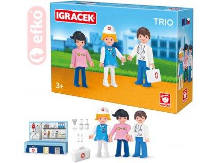 EFKO IGRÁČEK TRIO Léčíme set 3 figurky s doplňky v krabičce STAVEBNICE