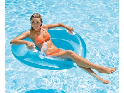 INTEX Plavací dětské křeslo 119cm nafukovací kruh s úchyty 2 barvy na vodu 58883