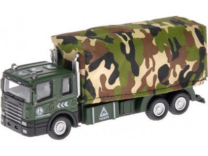 Auto vojenské nákladní 15cm na baterie zpětný chod Světlo Zvuk kov 2 druhy