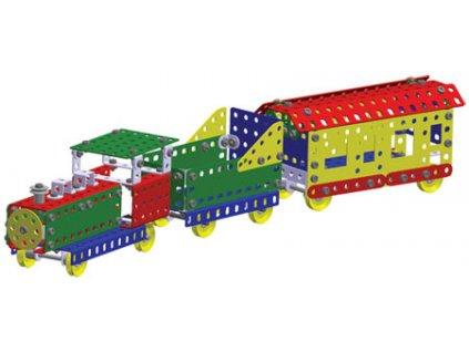 MERKUR M 031 Vláček Železniční modely 211 dílků *KOVOVÁ STAVEBNICE*
