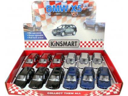 KINSMART Auto model 1:36 BMW X5 kov PB 13cm 4 barvy