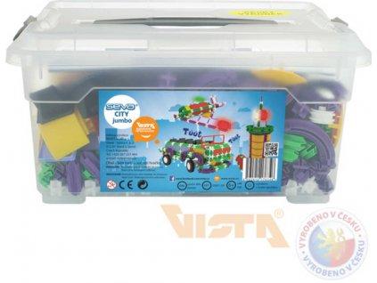SEVA City Jumbo polytechnická STAVEBNICE 686 dílků v plastovém boxu  + Dárek zdarma