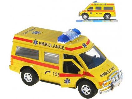 Auto záchranáři 19cm ambulance na setrvačník žlutá sanitka v krabičce
