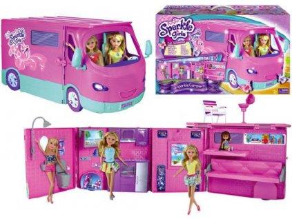 Karavan růžový Sparkle Girlz set obytný vůz skládací s doplňky plast  + Dárek zdarma