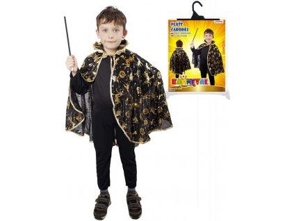 KARNEVAL Plášť čarodějnický černý motiv halloween (3-10 let) KOSTÝM
