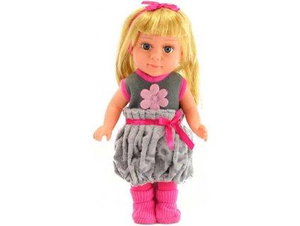 Panenka 33cm holčička blondýnka s mašlí pohyblivé končetiny dlouhé vlasy