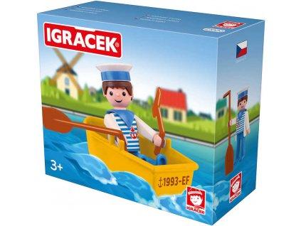 EFKO IGRÁČEK Námořník s lodičkou figurka 7,5cm v krabičce STAVEBNICE