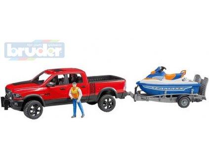 BRUDER 02503 Auto RAM 2500 s přívěsem set s figurkou a vodním skútrem 1:16  + Dárek zdarma