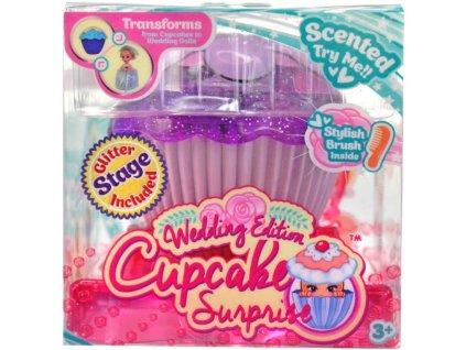 Panenka nevěsta dortík 2v1 Cupcake 15cm v kornoutu vonící svatební 12 druhů