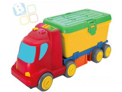 B-KIDS Baby auto náklaďák pracovní stůl 2v1 set s nářadím na baterie pro miminko  + Dárek zdarma