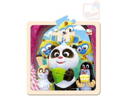 BINO DŘEVO Puzzle (Krteček) Krtek a Panda oslava 20 dílků