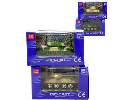 Tank kovový 1:64 model malý 8cm 4 druhy v krabičce