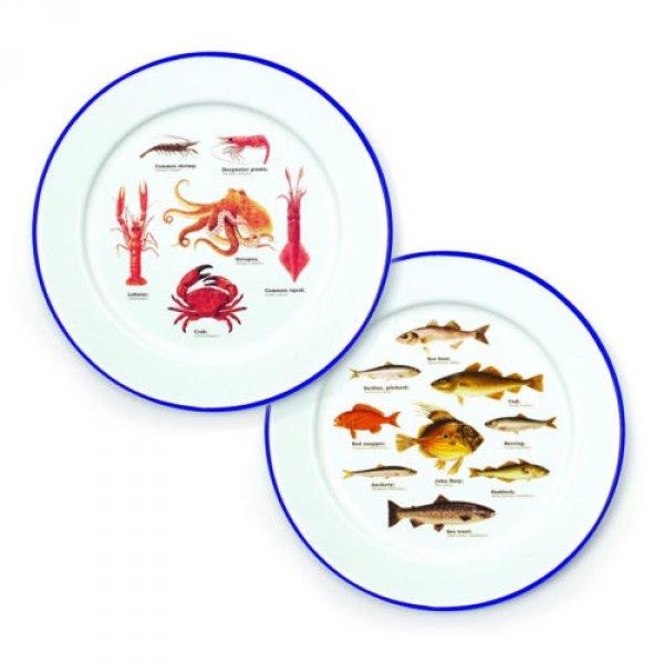 Dudlu Dva dárkové smaltované talíře - mořský svět