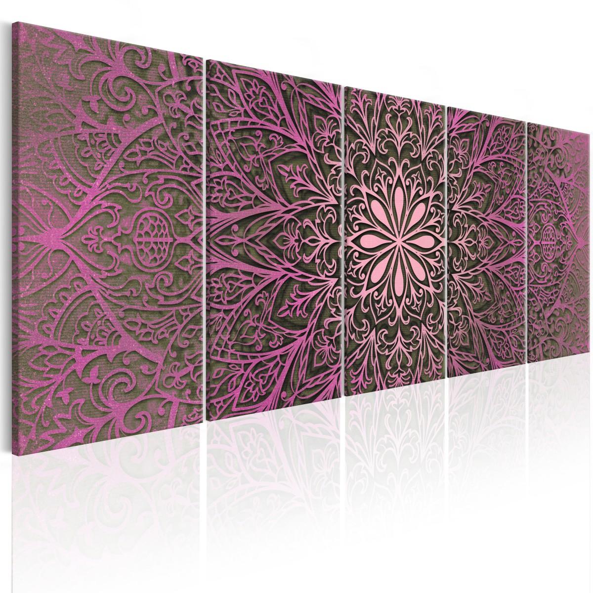 Dudlu Moderní obrazy na zeď - růžová mandala - 150x60 cm