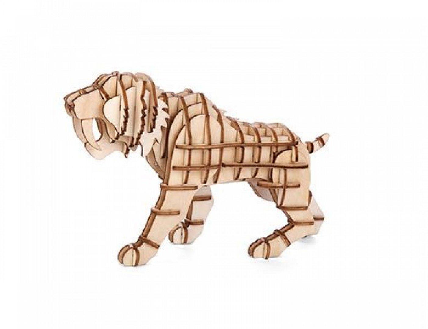 Dudlu Dřevěné 3D puzzle šavlozubý tygr