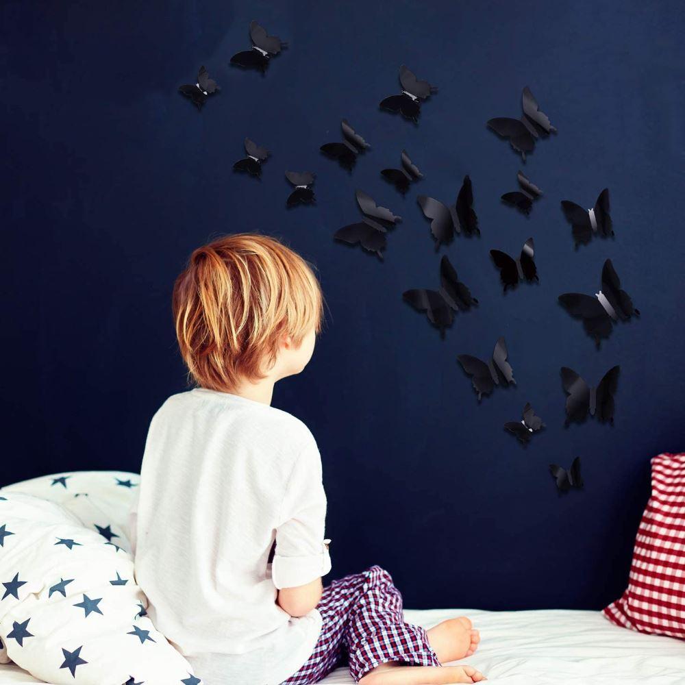 Dudlu 3D motýlci na zeď - černá