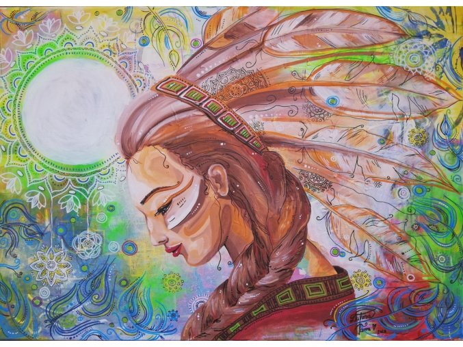 INDIÁNKA - Reprodukce na plátně