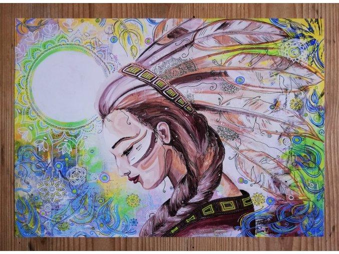 Reprodukce - Indiánka - plakát - styl 2