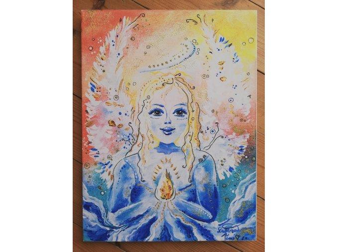 Duhový anděl - reprodukce na plátně