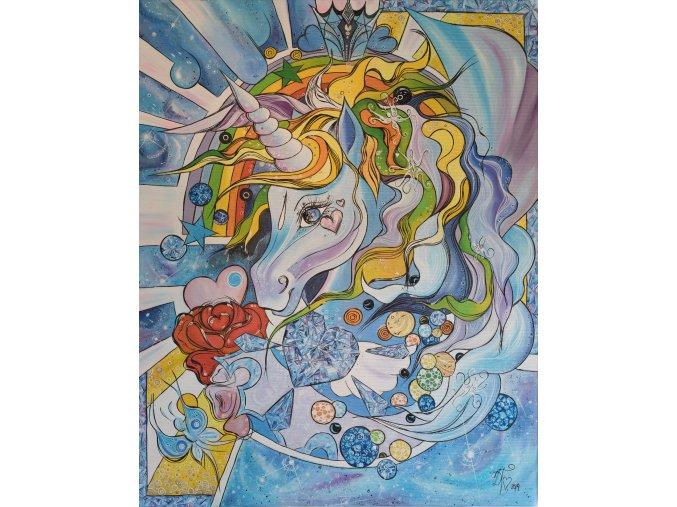 Vesmírný Jednorožec - reprodukce na plátně