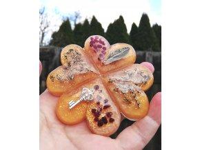 Amulet čtyřlístek Granát - velký