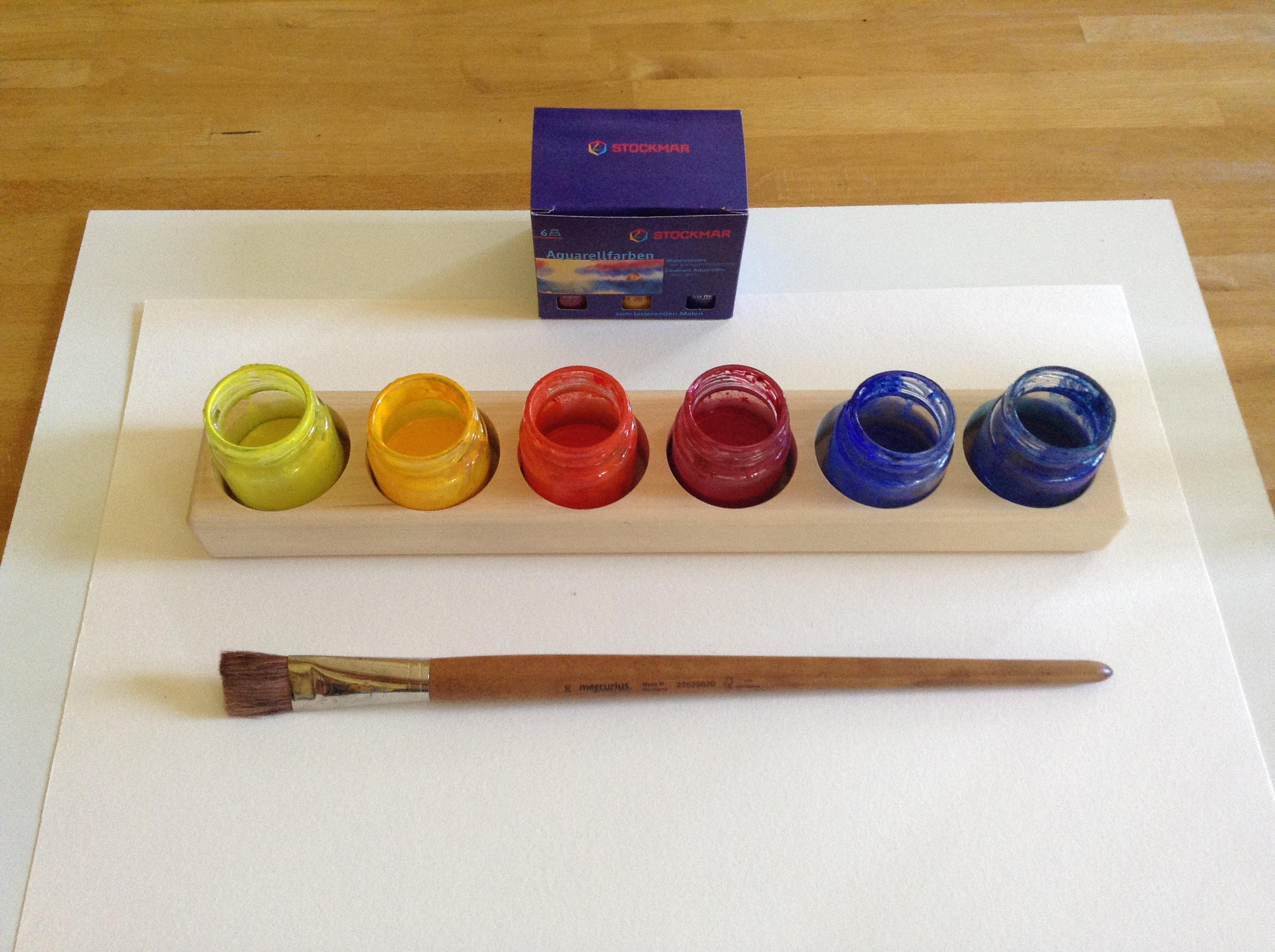 akvarelové malování, barvy Stockmar, Mercurius