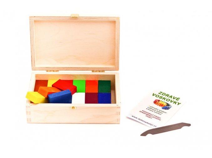 Zdravé voskovky ve dřevěné krabičce-12 kusů