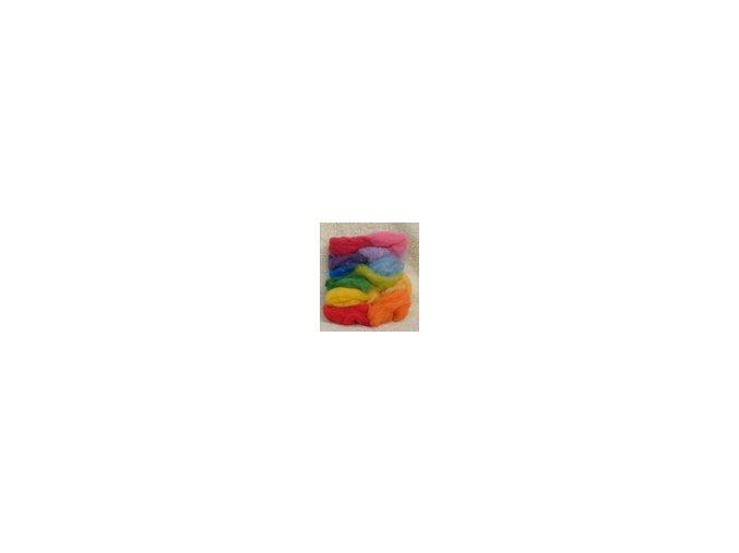 Barevná ovčí vlna - sada 12 barev