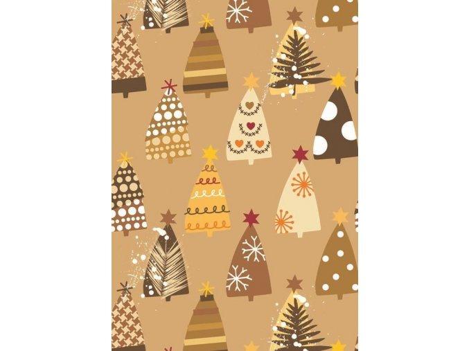 transparentní papír vánoční - stromy zlaté