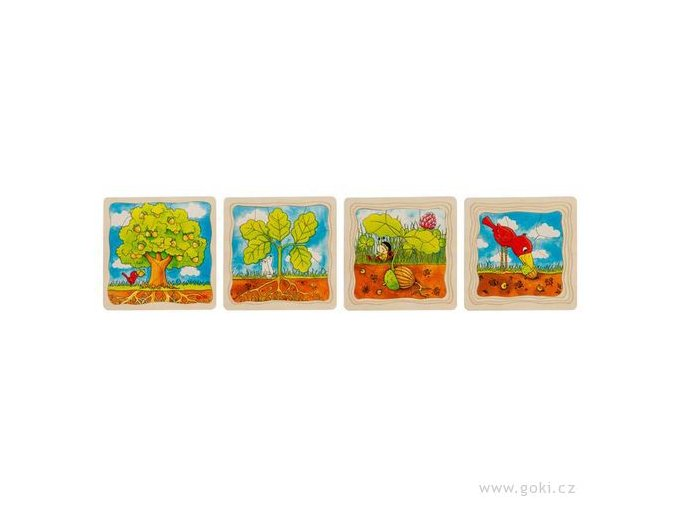 Naučné dřevěné puzzle Goki - Vyvoj stromu