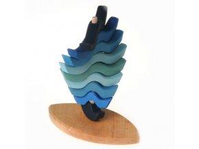 Dřevěná pyramida-vlna modrá,GR11100