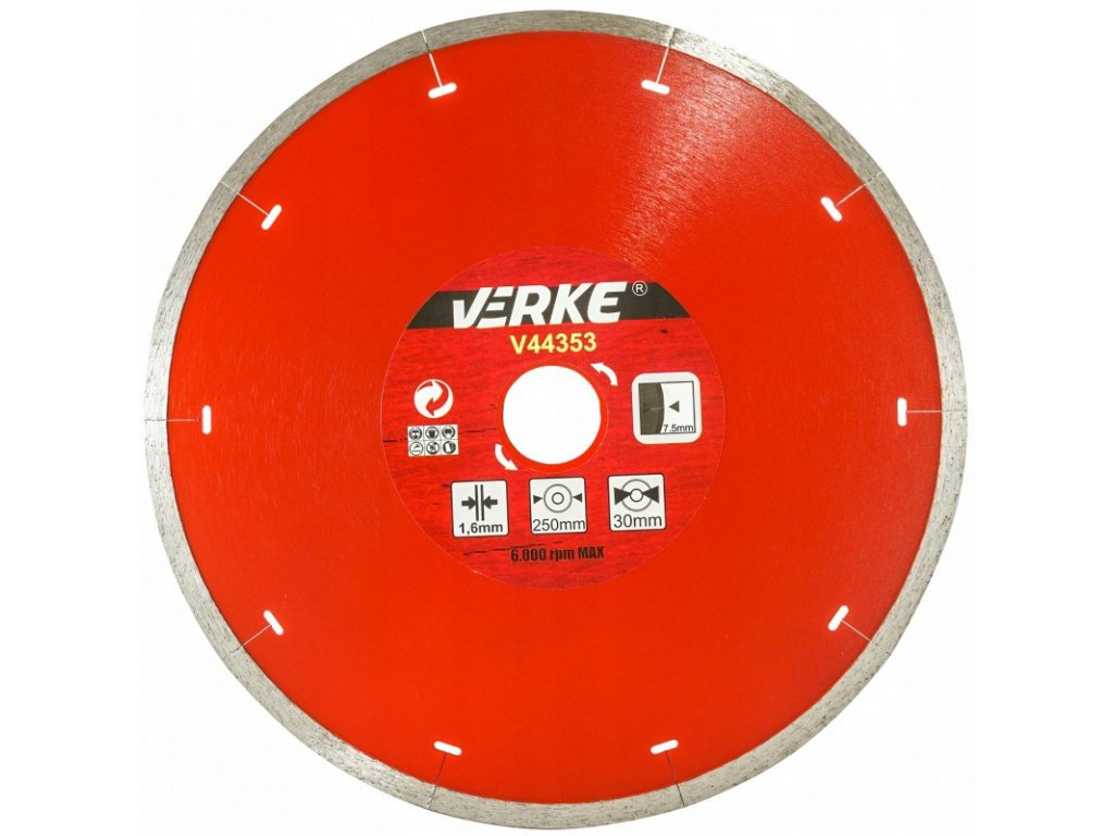 tarcza diamentowa do plytek ceramicznych 250 mm 16 mm verke 1