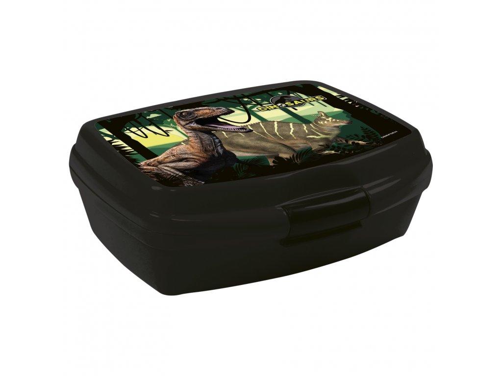 Dinosaurus (D) box na desiatu čierno-zelený