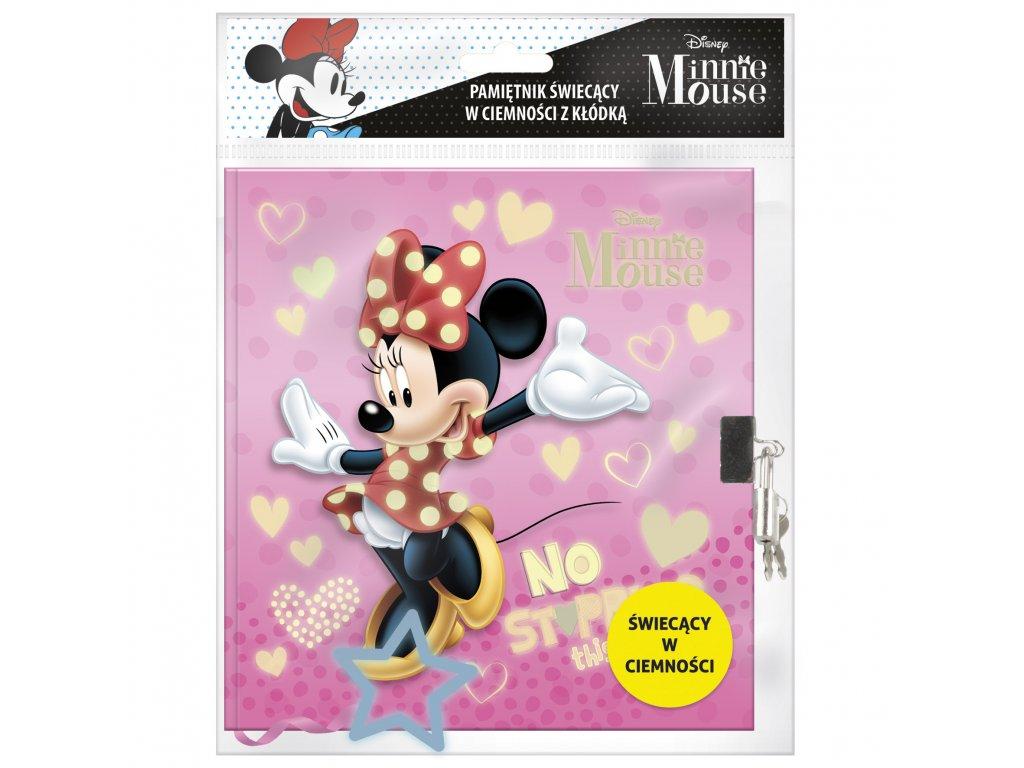 Minnie Mouse (D) diár so zámkom svietiaci v tme